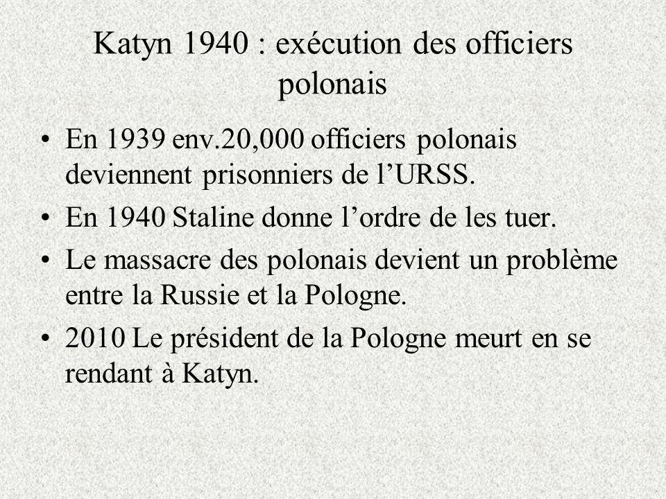 Katyn 1940 : exécution des officiers polonais En 1939 env.20,000 officiers polonais deviennent prisonniers de lURSS.