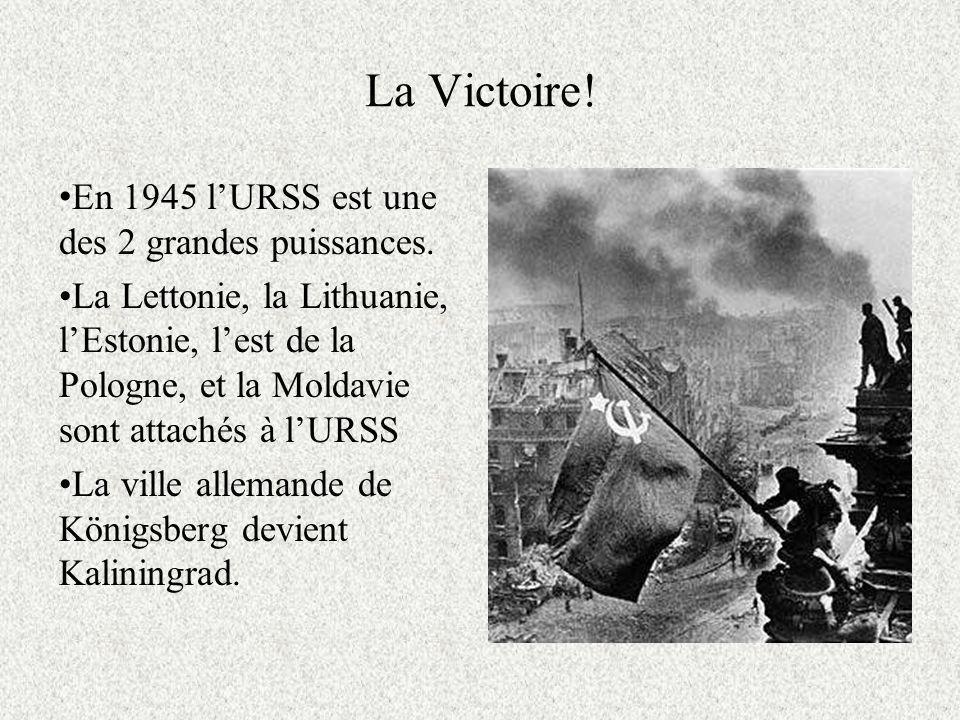 La Victoire.En 1945 lURSS est une des 2 grandes puissances.