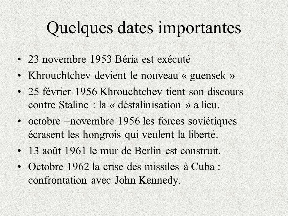 Quelques dates importantes 23 novembre 1953 Béria est exécuté Khrouchtchev devient le nouveau « guensek » 25 février 1956 Khrouchtchev tient son discours contre Staline : la « déstalinisation » a lieu.