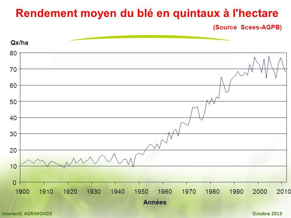 Interactif, AGRIMONDE Octobre 2013 Rendement moyen du blé en quintaux à l'hectare (Source Scees-AGPB) 0 10 20 30 40 50 60 70 80 1900191019201930194019