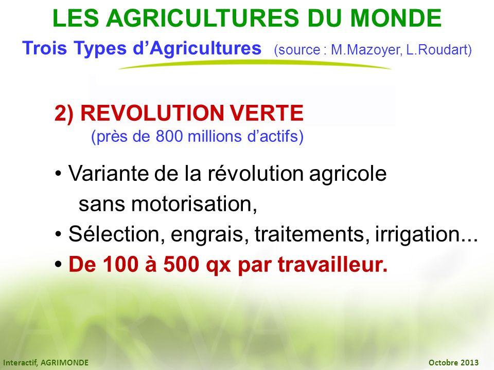 Interactif, AGRIMONDE Octobre 2013 2) REVOLUTION VERTE (près de 800 millions dactifs) Variante de la révolution agricole sans motorisation, Sélection,