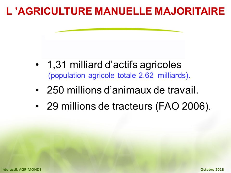 Interactif, AGRIMONDE Octobre 2013 1,31 milliard dactifs agricoles (population agricole totale 2.62 milliards). 250 millions danimaux de travail. 29 m