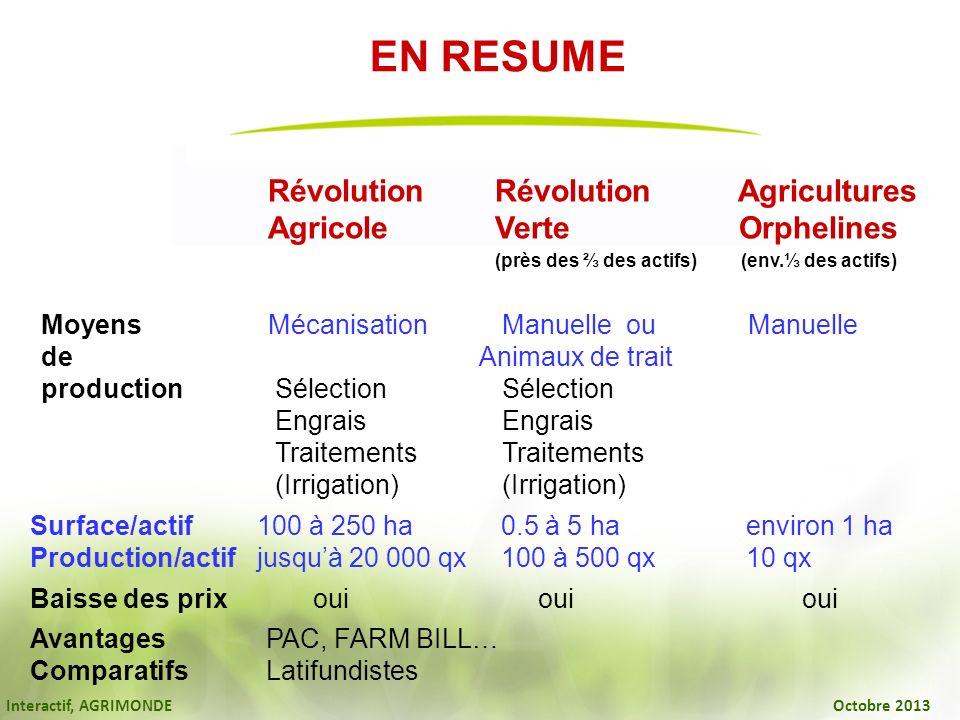 Interactif, AGRIMONDE Octobre 2013 RévolutionRévolution Agricultures AgricoleVerte Orphelines (près des des actifs) (env. des actifs) MoyensMécanisati