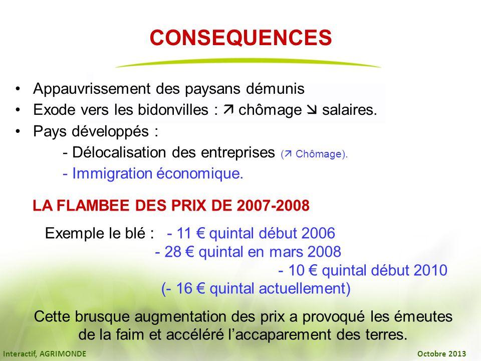 Interactif, AGRIMONDE Octobre 2013 CONSEQUENCES Appauvrissement des paysans démunis Exode vers les bidonvilles : chômage salaires. Pays développés : -