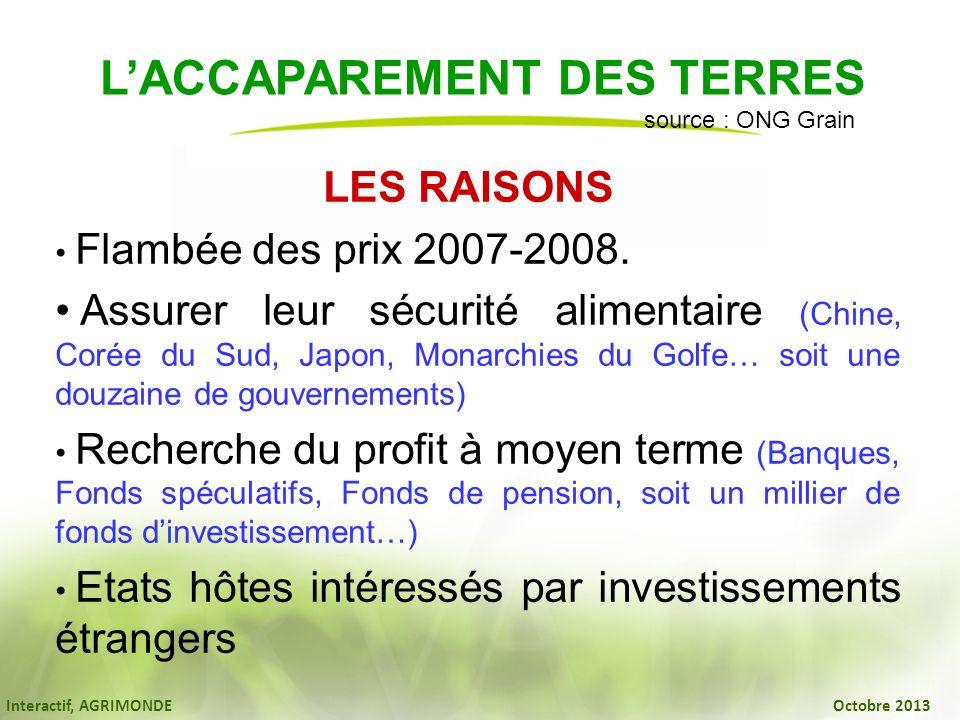 Interactif, AGRIMONDE Octobre 2013 LES RAISONS Flambée des prix 2007-2008. Assurer leur sécurité alimentaire (Chine, Corée du Sud, Japon, Monarchies d