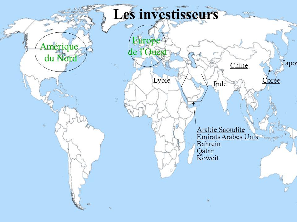 Interactif, AGRIMONDE Octobre 2013 26 Arabie Saoudite Emirats Arabes Unis Bahrein Qatar Koweit Lybie Chine Inde Corée Japon Les investisseurs Europe d