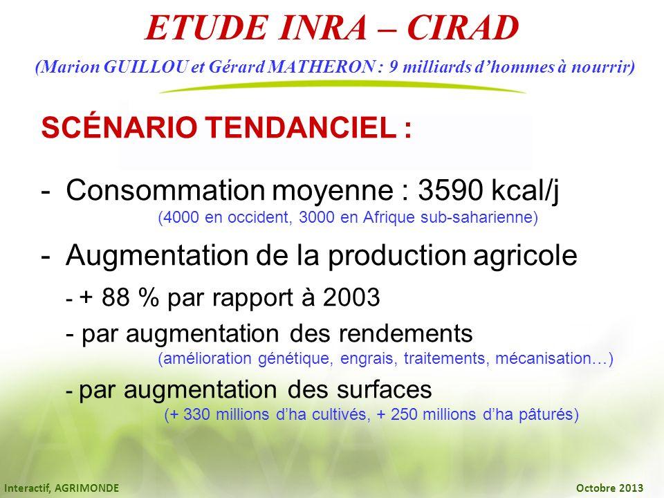 Interactif, AGRIMONDE Octobre 2013 ETUDE INRA – CIRAD (Marion GUILLOU et Gérard MATHERON : 9 milliards dhommes à nourrir) SCÉNARIO TENDANCIEL : -Conso