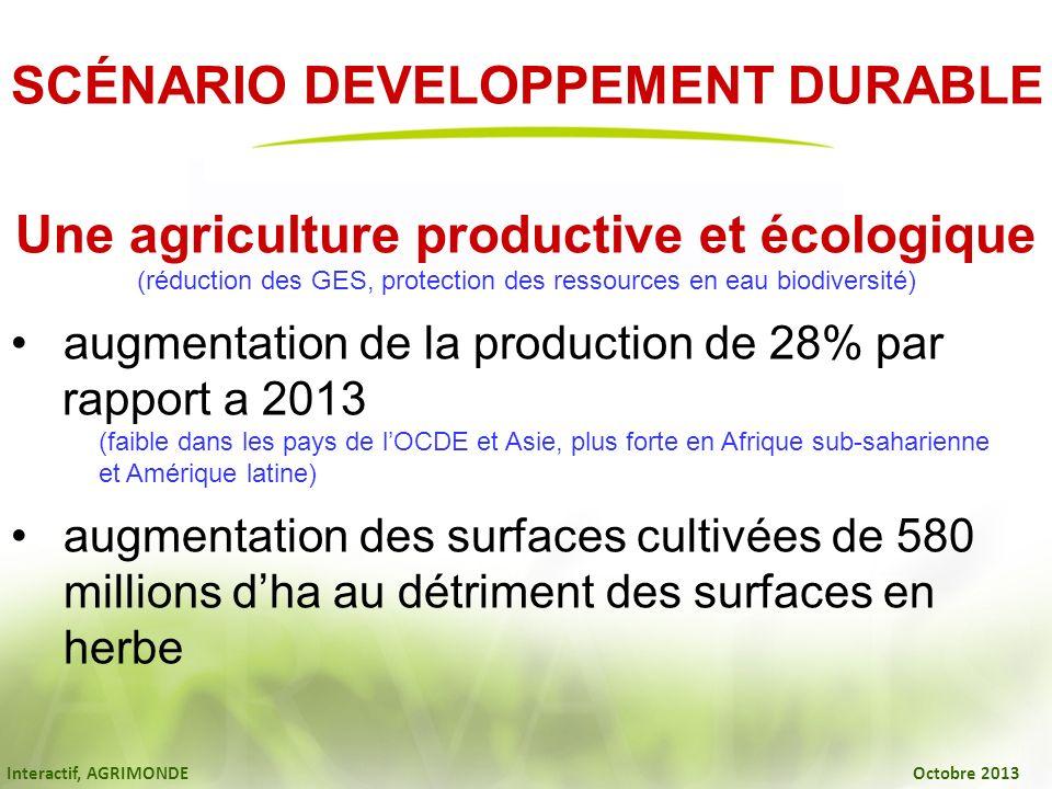 Interactif, AGRIMONDE Octobre 2013 SCÉNARIO DEVELOPPEMENT DURABLE Une agriculture productive et écologique (réduction des GES, protection des ressourc