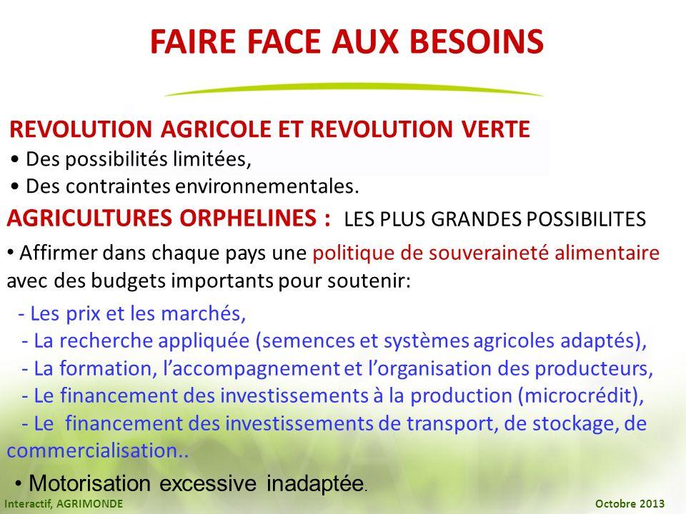 Interactif, AGRIMONDE Octobre 2013 REVOLUTION AGRICOLE ET REVOLUTION VERTE Des possibilités limitées, Des contraintes environnementales. AGRICULTURES