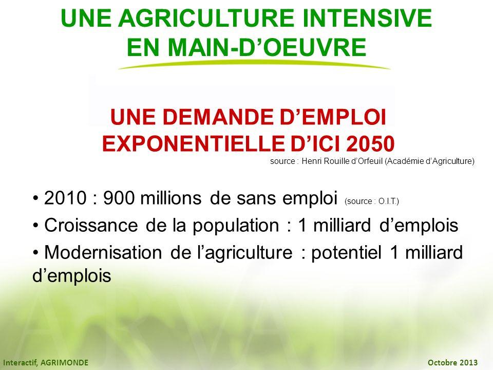 Interactif, AGRIMONDE Octobre 2013 UNE AGRICULTURE INTENSIVE EN MAIN-DOEUVRE UNE DEMANDE DEMPLOI EXPONENTIELLE DICI 2050 source : Henri Rouille dOrfeu