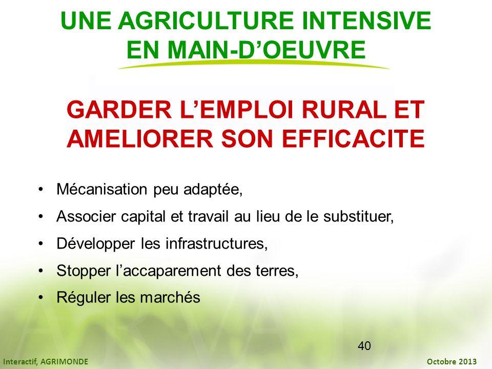 Interactif, AGRIMONDE Octobre 2013 40 GARDER LEMPLOI RURAL ET AMELIORER SON EFFICACITE Mécanisation peu adaptée, Associer capital et travail au lieu d