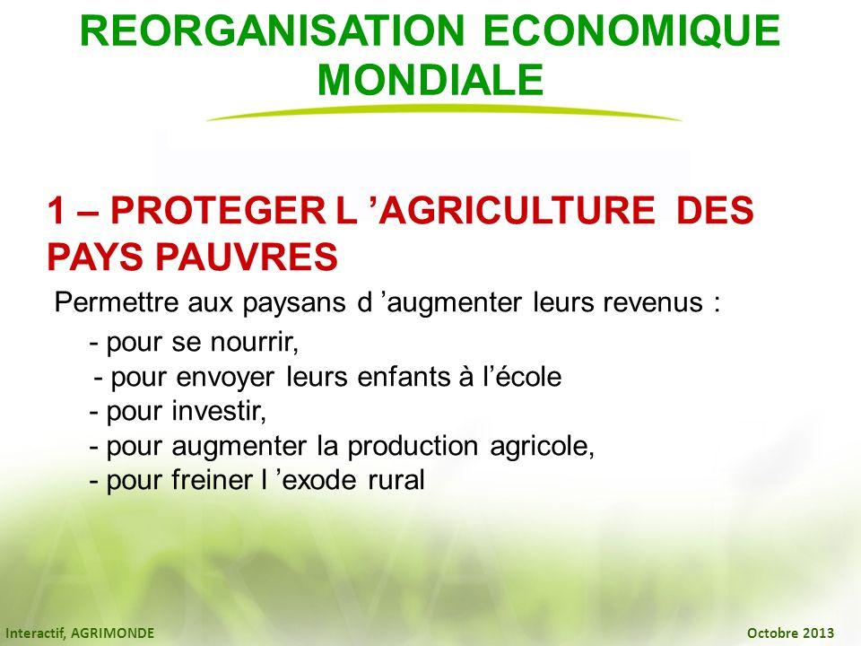 Interactif, AGRIMONDE Octobre 2013 REORGANISATION ECONOMIQUE MONDIALE 1 – PROTEGER L AGRICULTURE DES PAYS PAUVRES Permettre aux paysans d augmenter le