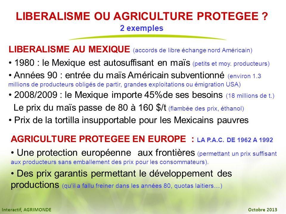 Interactif, AGRIMONDE Octobre 2013 LIBERALISME OU AGRICULTURE PROTEGEE ? 2 exemples LIBERALISME AU MEXIQUE (accords de libre échange nord Américain) 1