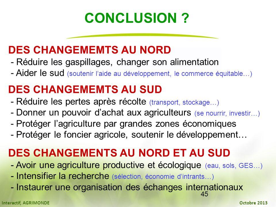 Interactif, AGRIMONDE Octobre 2013 45 CONCLUSION ? DES CHANGEMEMTS AU NORD - Réduire les gaspillages, changer son alimentation - Aider le sud (souteni