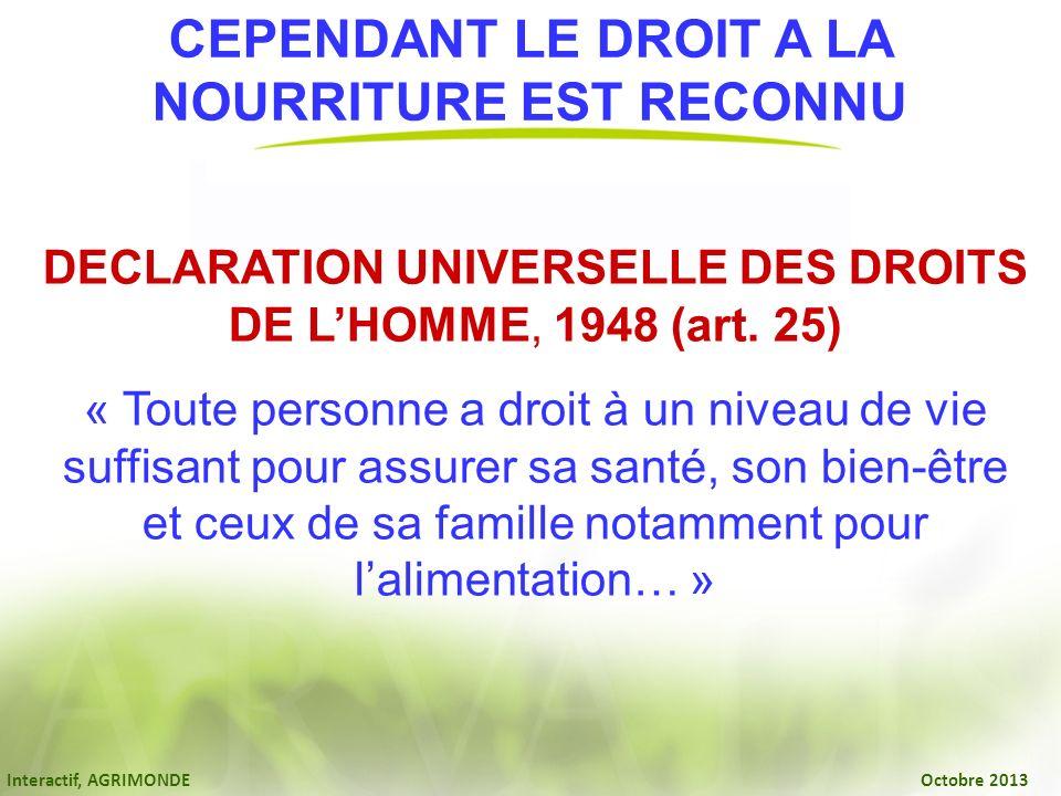 CEPENDANT LE DROIT A LA NOURRITURE EST RECONNU DECLARATION UNIVERSELLE DES DROITS DE LHOMME, 1948 (art. 25) « Toute personne a droit à un niveau de vi