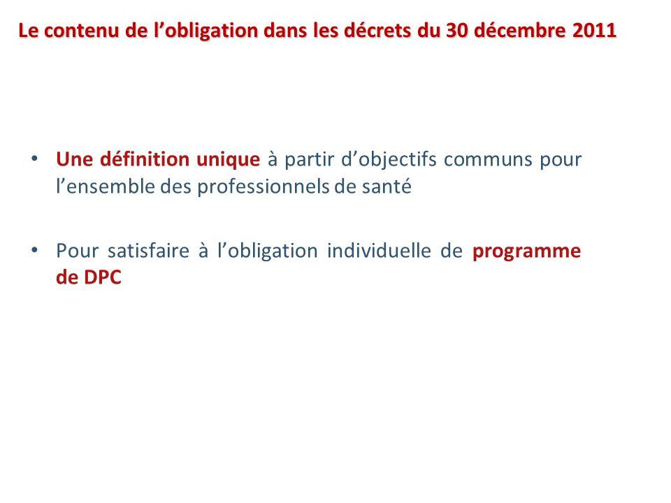 Le contenu de lobligation dans les décrets du 30 décembre 2011 Une définition unique à partir dobjectifs communs pour lensemble des professionnels de santé Pour satisfaire à lobligation individuelle de programme de DPC