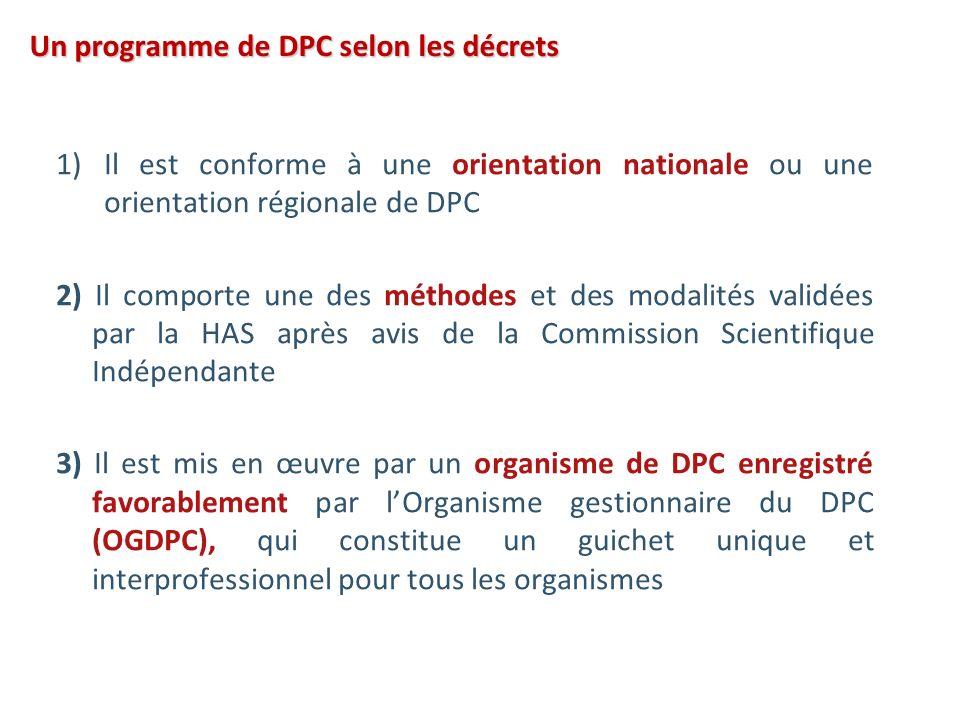 Un programme de DPC selon les décrets 1)Il est conforme à une orientation nationale ou une orientation régionale de DPC 2) Il comporte une des méthode