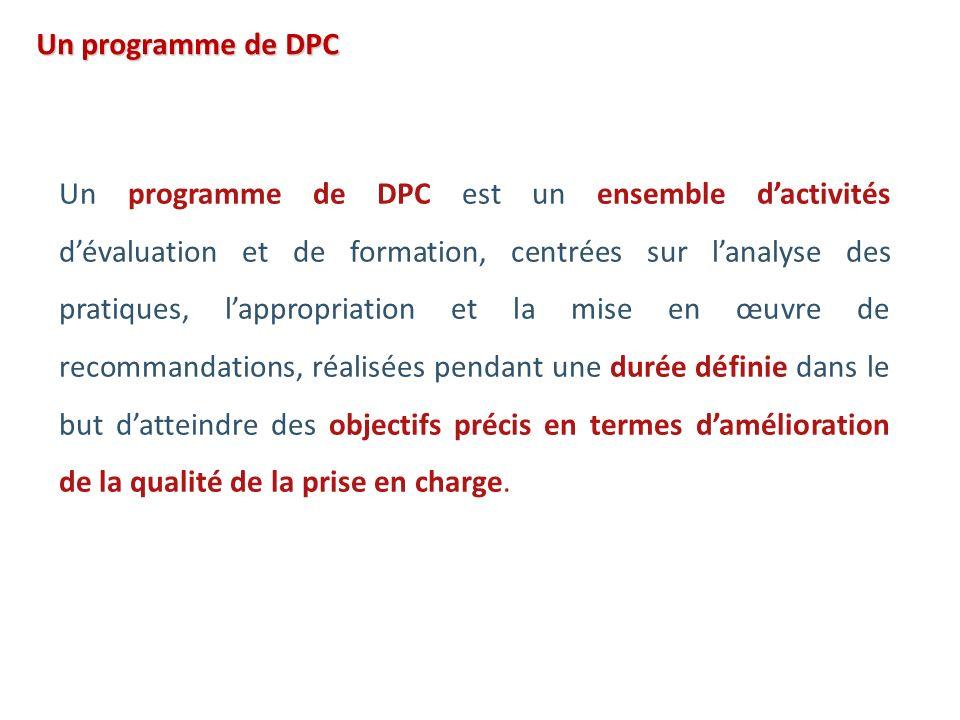 Un programme de DPC est un ensemble dactivités dévaluation et de formation, centrées sur lanalyse des pratiques, lappropriation et la mise en œuvre de recommandations, réalisées pendant une durée définie dans le but datteindre des objectifs précis en termes damélioration de la qualité de la prise en charge.