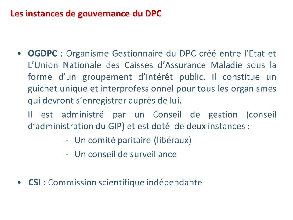 OGDPC : Organisme Gestionnaire du DPC créé entre lEtat et LUnion Nationale des Caisses dAssurance Maladie sous la forme dun groupement dintérêt public.