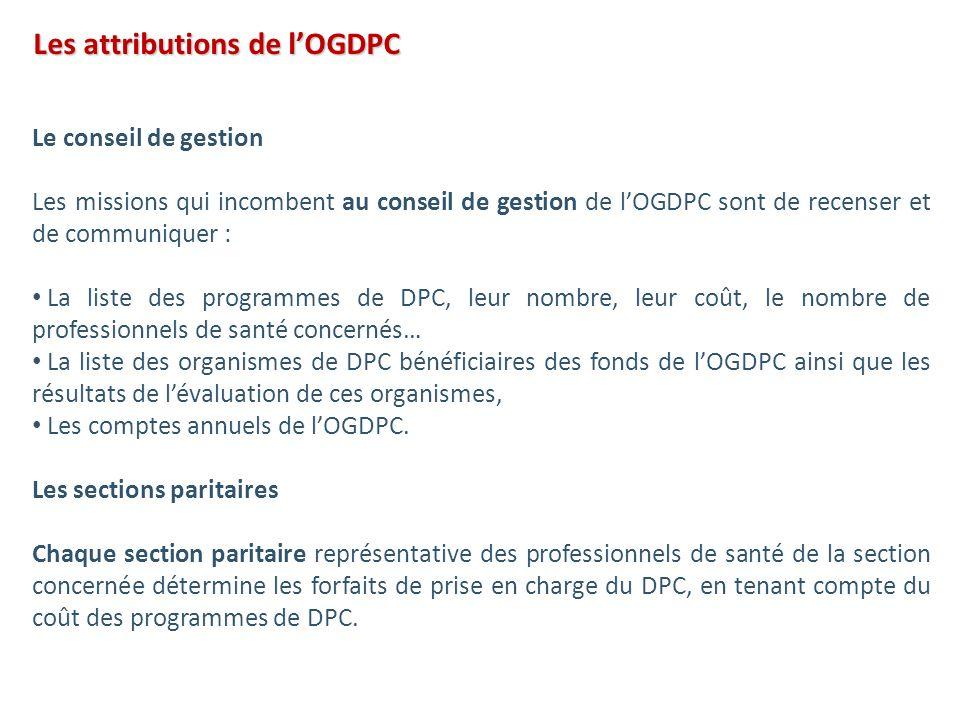 Le conseil de gestion Les missions qui incombent au conseil de gestion de lOGDPC sont de recenser et de communiquer : La liste des programmes de DPC,