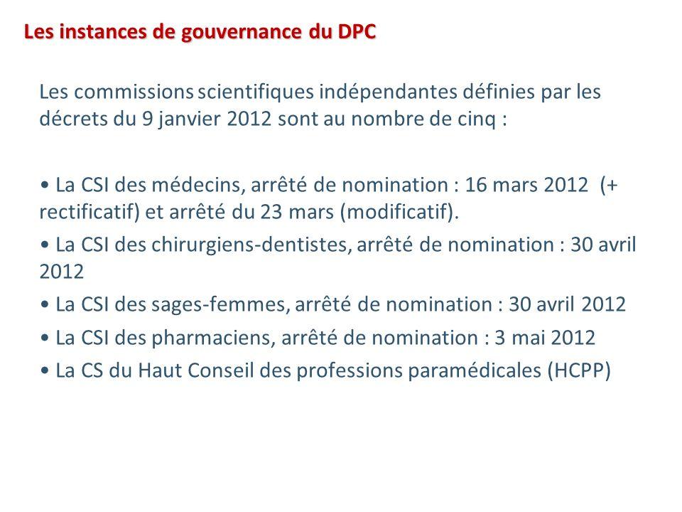 Les instances de gouvernance du DPC Les commissions scientifiques indépendantes définies par les décrets du 9 janvier 2012 sont au nombre de cinq : La CSI des médecins, arrêté de nomination : 16 mars 2012 (+ rectificatif) et arrêté du 23 mars (modificatif).