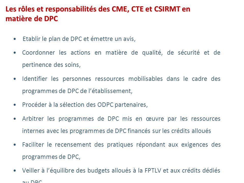 Les rôles et responsabilités des CME, CTE et CSIRMT en matière de DPC Etablir le plan de DPC et émettre un avis, Coordonner les actions en matière de qualité, de sécurité et de pertinence des soins, Identifier les personnes ressources mobilisables dans le cadre des programmes de DPC de létablissement, Procéder à la sélection des ODPC partenaires, Arbitrer les programmes de DPC mis en œuvre par les ressources internes avec les programmes de DPC financés sur les crédits alloués Faciliter le recensement des pratiques répondant aux exigences des programmes de DPC, Veiller à léquilibre des budgets alloués à la FPTLV et aux crédits dédiés au DPC…