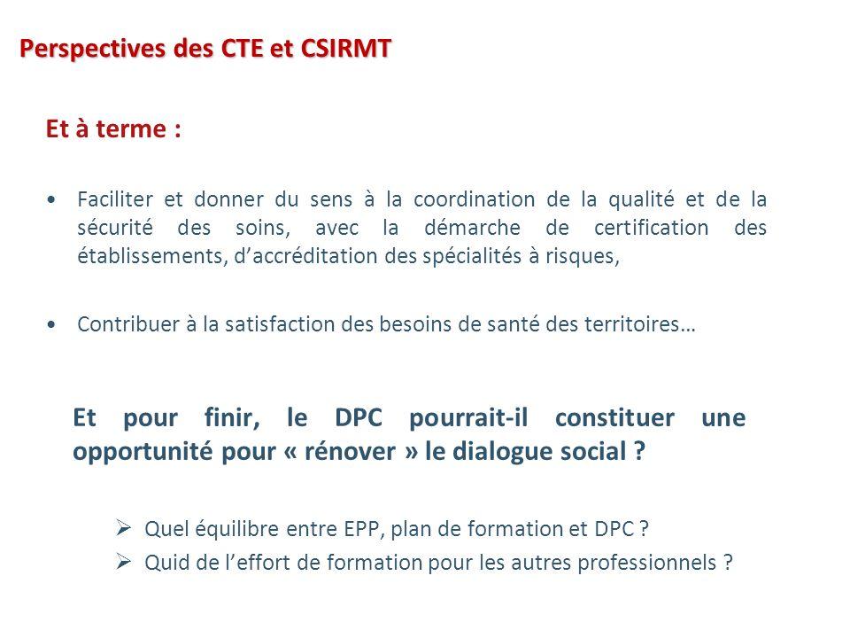 Perspectives des CTE et CSIRMT Et à terme : Faciliter et donner du sens à la coordination de la qualité et de la sécurité des soins, avec la démarche