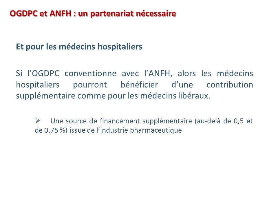 OGDPC et ANFH : un partenariat nécessaire Et pour les médecins hospitaliers Si lOGDPC conventionne avec lANFH, alors les médecins hospitaliers pourront bénéficier dune contribution supplémentaire comme pour les médecins libéraux.