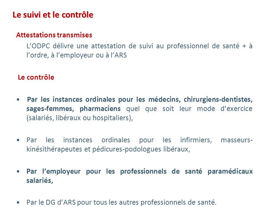 Le suivi et le contrôle Le suivi et le contrôle Attestations transmises LODPC délivre une attestation de suivi au professionnel de santé + à lordre, à