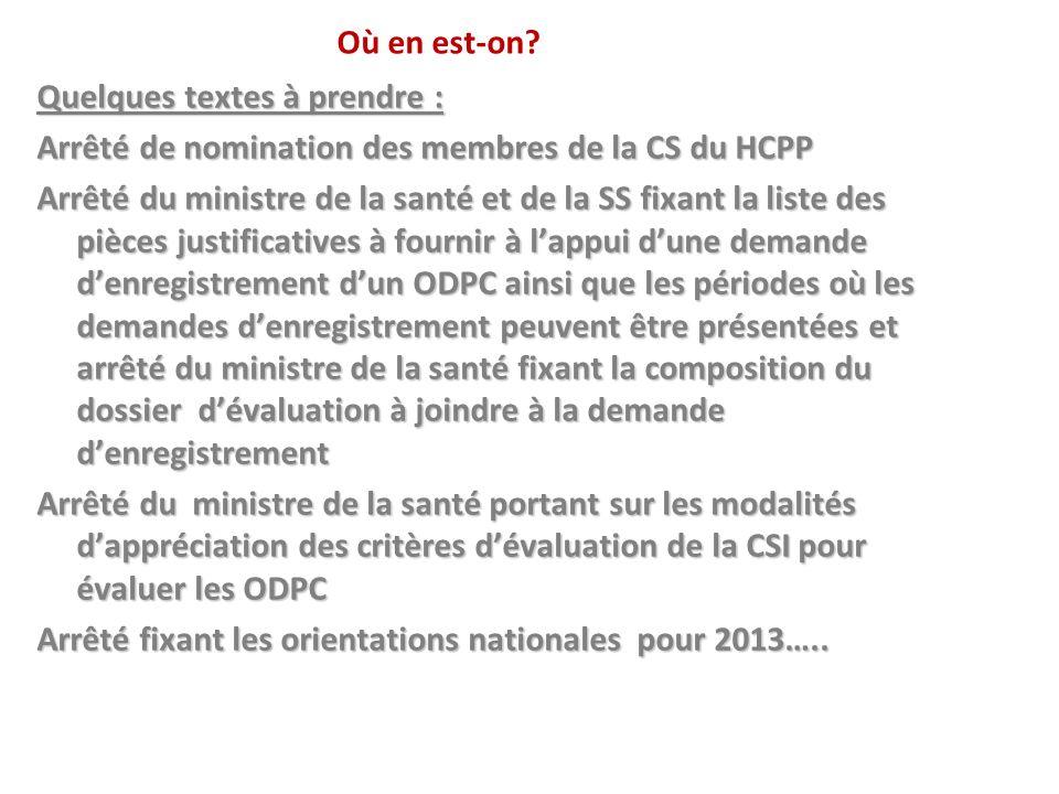 Où en est-on? Quelques textes à prendre : Arrêté de nomination des membres de la CS du HCPP Arrêté du ministre de la santé et de la SS fixant la liste