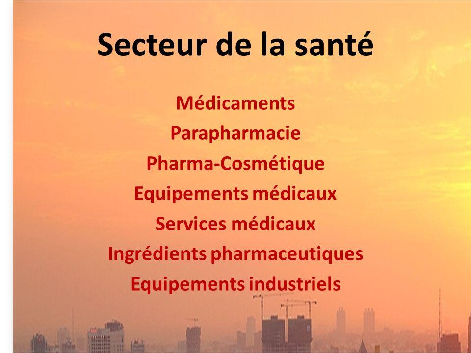 Secteur de la santé Médicaments Parapharmacie Pharma-Cosmétique Equipements médicaux Services médicaux Ingrédients pharmaceutiques Equipements industriels
