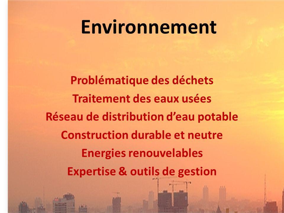 Environnement Problématique des déchets Traitement des eaux usées Réseau de distribution deau potable Construction durable et neutre Energies renouvelables Expertise & outils de gestion