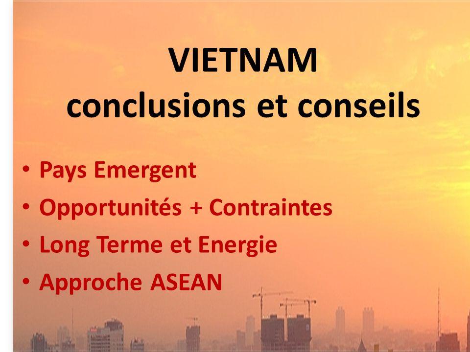 VIETNAM conclusions et conseils Pays Emergent Opportunités + Contraintes Long Terme et Energie Approche ASEAN
