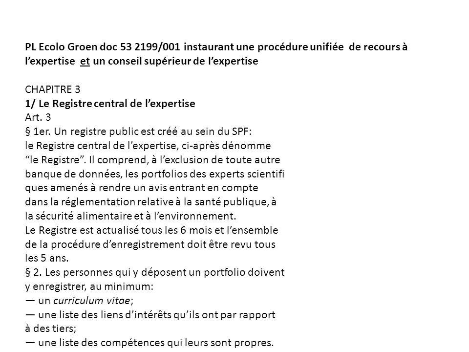PL Ecolo Groen doc 53 2199/001 instaurant une procédure unifiée de recours à lexpertise et un conseil supérieur de lexpertise CHAPITRE 3 1/ Le Registre central de lexpertise Art.