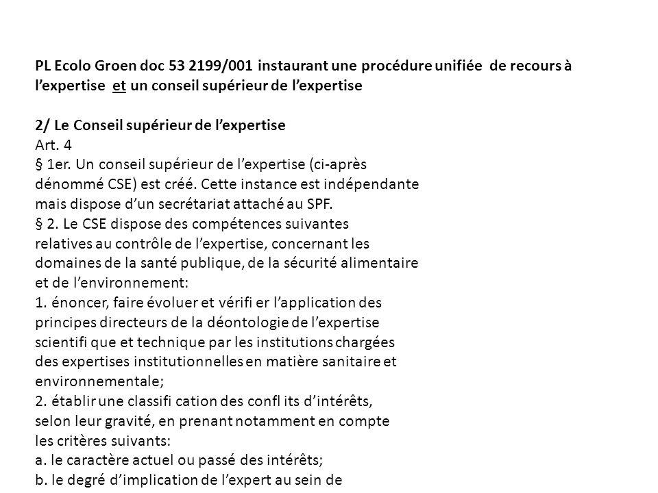 PL Ecolo Groen doc 53 2199/001 instaurant une procédure unifiée de recours à lexpertise et un conseil supérieur de lexpertise 2/ Le Conseil supérieur de lexpertise Art.