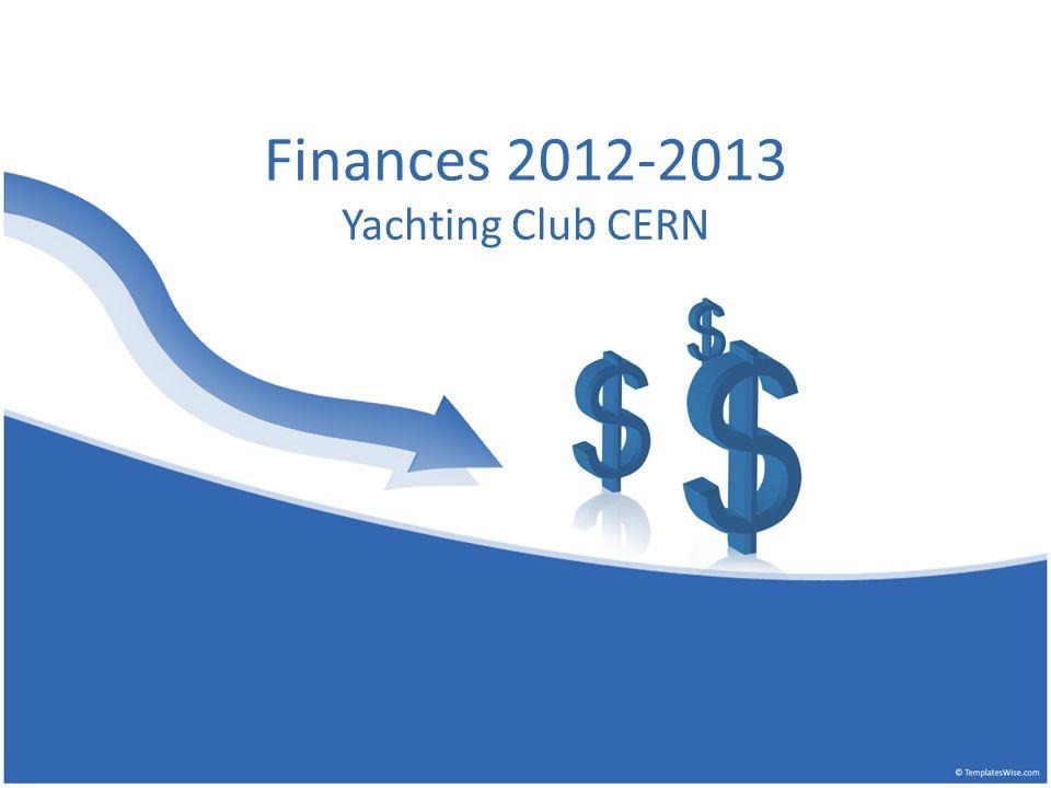 Finances 2012-2013 Yachting Club CERN