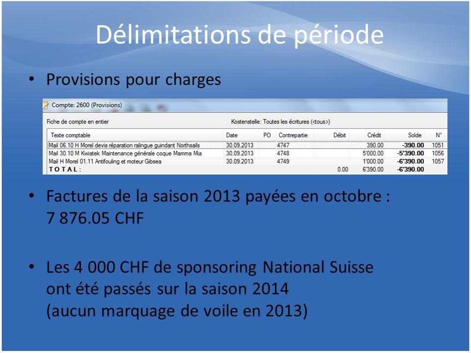 Délimitations de période Provisions pour charges Factures de la saison 2013 payées en octobre : 7 876.05 CHF Les 4 000 CHF de sponsoring National Suis