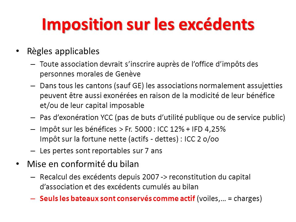 Imposition sur les excédents Règles applicables – Toute association devrait sinscrire auprès de loffice dimpôts des personnes morales de Genève – Dans