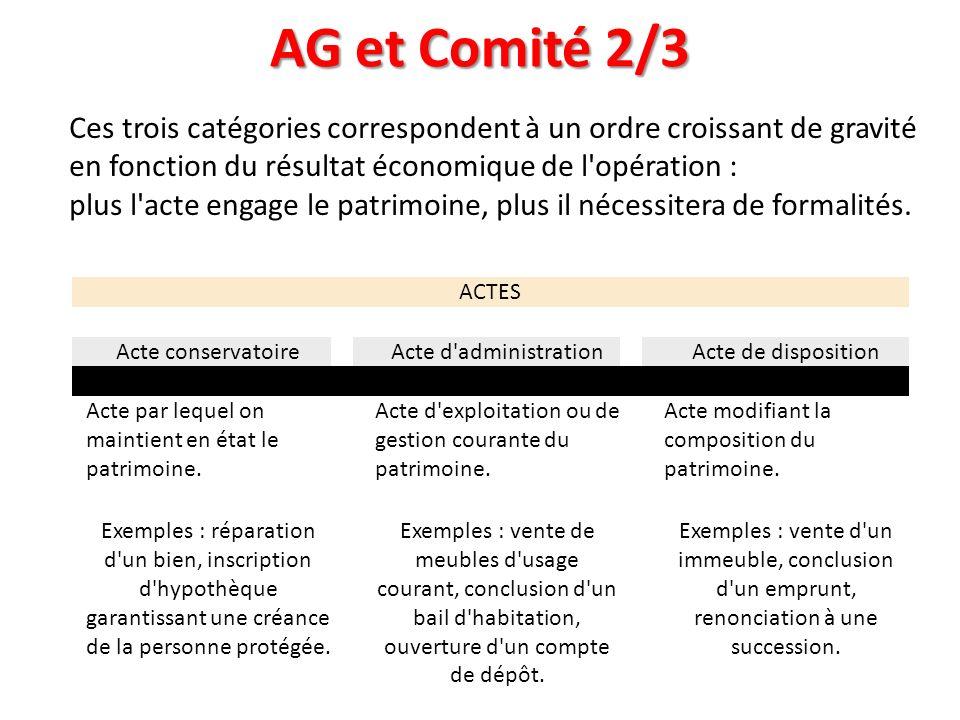 AG et Comité 2/3 ACTES Acte conservatoire Acte d'administration Acte de disposition Acte par lequel on maintient en état le patrimoine. Acte d'exploit