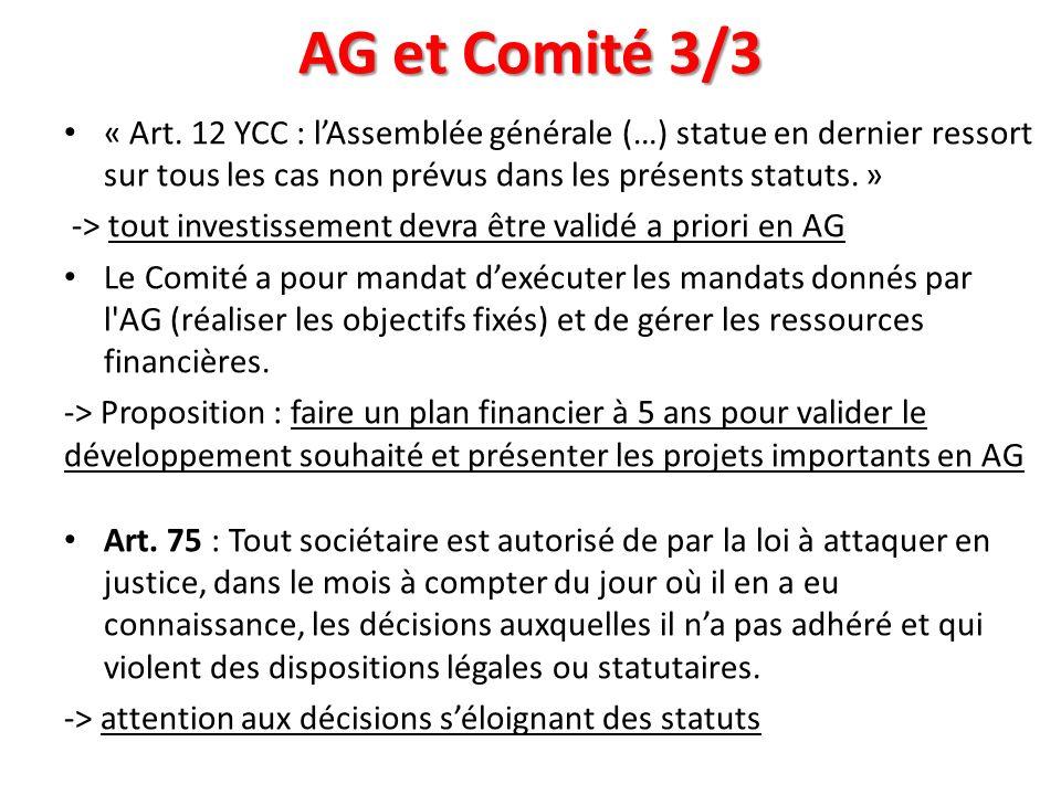 AG et Comité 3/3 « Art. 12 YCC : lAssemblée générale (…) statue en dernier ressort sur tous les cas non prévus dans les présents statuts. » -> tout in