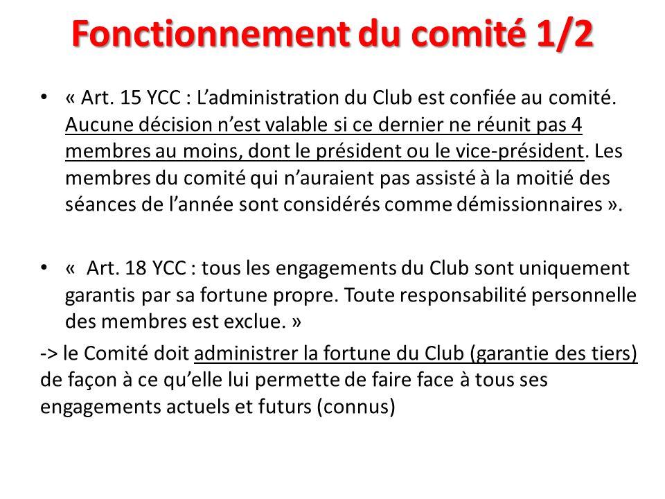 Fonctionnement du comité 1/2 « Art. 15 YCC : Ladministration du Club est confiée au comité. Aucune décision nest valable si ce dernier ne réunit pas 4