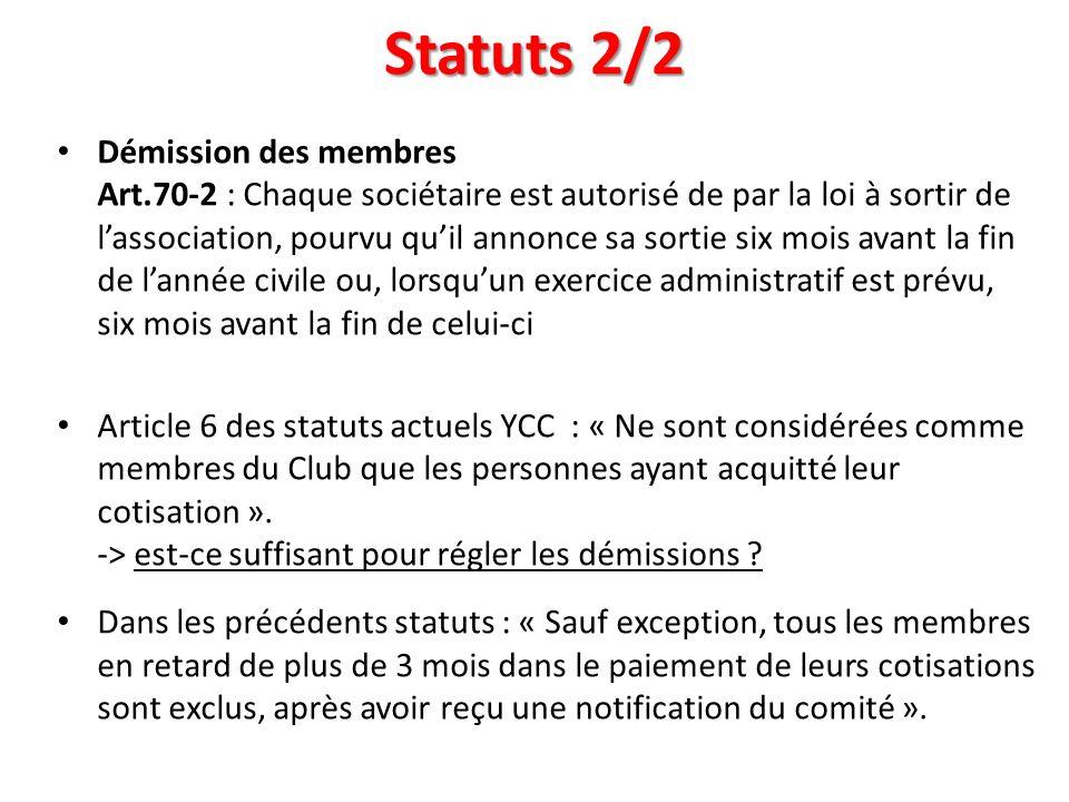 Statuts 2/2 Démission des membres Art.70-2 : Chaque sociétaire est autorisé de par la loi à sortir de lassociation, pourvu quil annonce sa sortie six