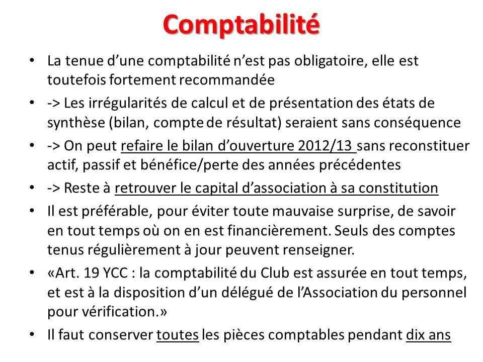 Comptabilité La tenue dune comptabilité nest pas obligatoire, elle est toutefois fortement recommandée -> Les irrégularités de calcul et de présentati