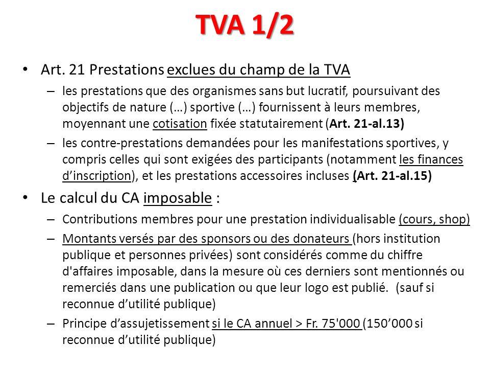 TVA 1/2 Art. 21 Prestations exclues du champ de la TVA – les prestations que des organismes sans but lucratif, poursuivant des objectifs de nature (…)