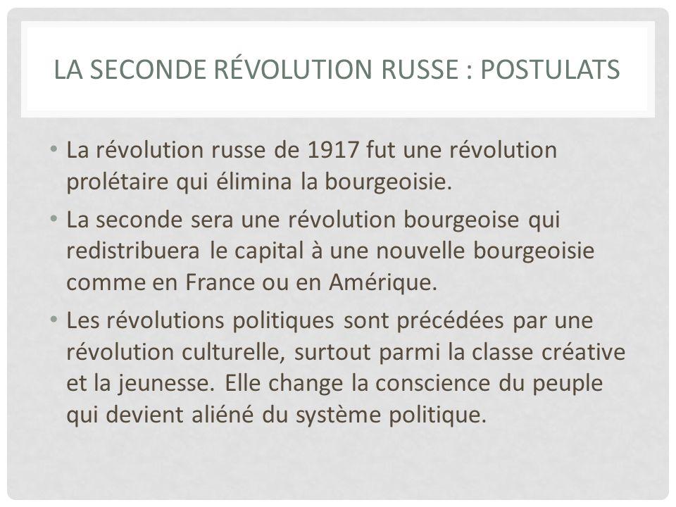 LA SECONDE RÉVOLUTION RUSSE : POSTULATS La révolution russe de 1917 fut une révolution prolétaire qui élimina la bourgeoisie.