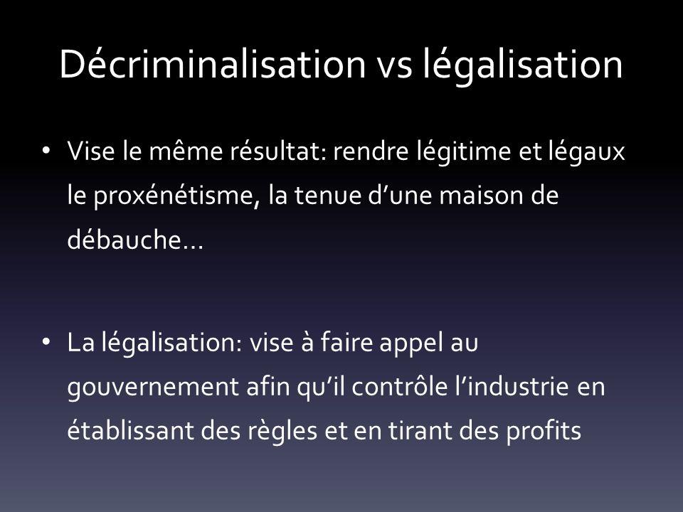 Décriminalisation vs légalisation Vise le même résultat: rendre légitime et légaux le proxénétisme, la tenue dune maison de débauche… La légalisation: