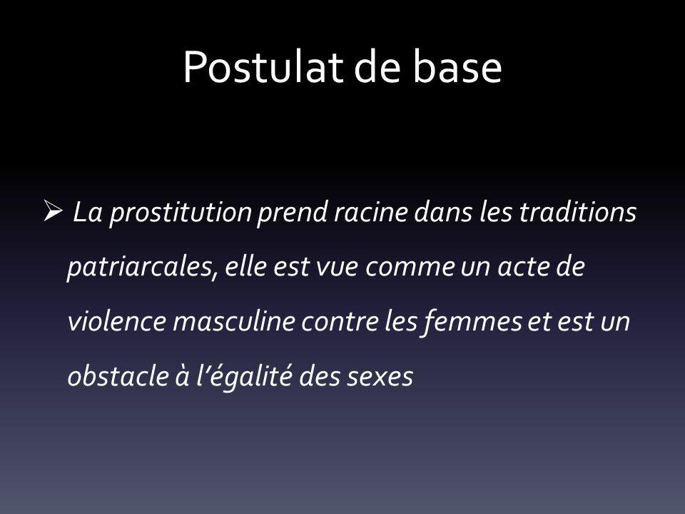 Postulat de base La prostitution prend racine dans les traditions patriarcales, elle est vue comme un acte de violence masculine contre les femmes et