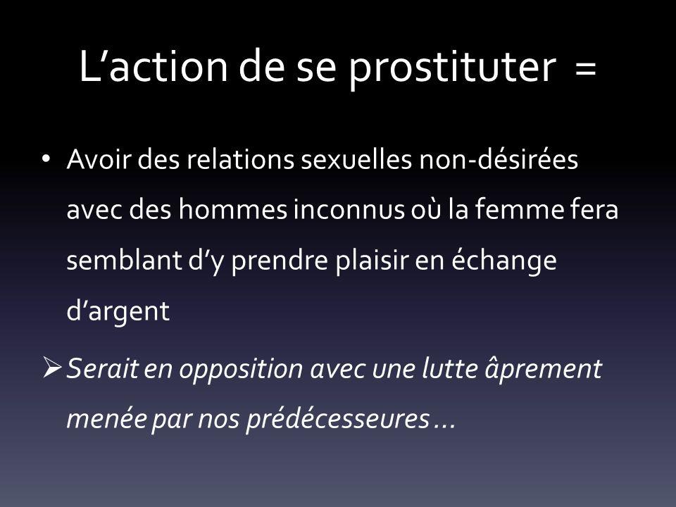 Laction de se prostituter = Avoir des relations sexuelles non-désirées avec des hommes inconnus où la femme fera semblant dy prendre plaisir en échang