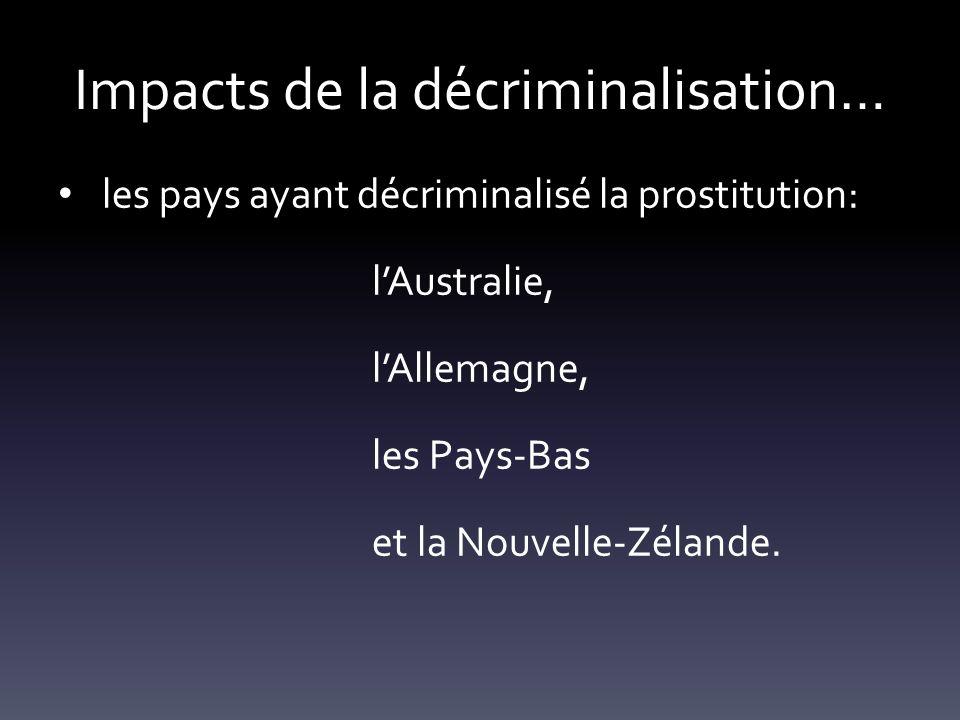 Impacts de la décriminalisation… les pays ayant décriminalisé la prostitution: lAustralie, lAllemagne, les Pays-Bas et la Nouvelle-Zélande.