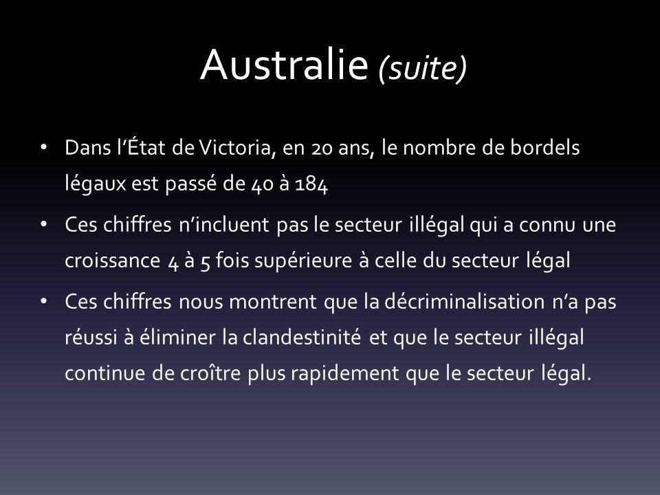 Australie (suite) Dans lÉtat de Victoria, en 20 ans, le nombre de bordels légaux est passé de 40 à 184 Ces chiffres nincluent pas le secteur illégal q